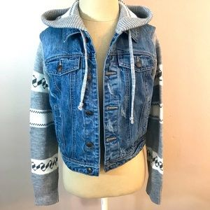 Thread and Supply Sweater Sleeve Jean Jacket Small